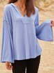 Blue Paneled Casual V Neck Solid Shirts & Tops