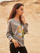 Gray Paneled Long Sleeve Casual Crew Neck Shirts & Tops