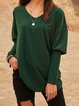 Green Crew Neck Paneled Long Sleeve Shirts & Tops