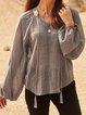 Gray V Neck Solid Long Sleeve Shirts & Tops