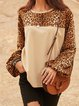 Apricot Long Sleeve Holiday Crew Neck Shirts & Tops