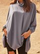 Gray Plain Long Sleeve Shirts & Tops