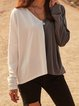 White Cotton-Blend Color-Block Long Sleeve Shirts & Tops