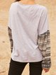 Gray Paneled Crew Neck Tribal Casual Shirts & Tops