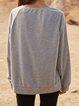 Gray Long Sleeve Cotton-Blend Plain Paneled Shirts & Tops