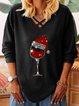 Black V Neck Shift Long Sleeve Shirts & Tops