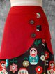 Red Asymmetric Floral Vintage A-Line Skirts