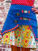 Blue Casual Floral-Print Skirts