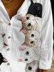 Vintage Long Sleeve V Neck Cute Cats Printed Plus Size Statement Casual Shirt Tops