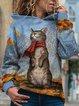 Vintage Hoodie Long Sleeve Cute Cat Printed Plus Size Statement Casual Sweatshirt