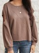 Brown Crew Neck Plain Holiday Cotton-Blend Shirts & Tops