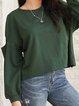 Green Crew Neck Long Sleeve Shirts & Tops