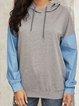 Gray Pockets Cotton-Blend Boho Plain Shirts & Tops