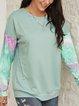 Green Plain Color-Block Crew Neck Long Sleeve Shirts & Tops