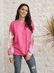 Pink Long Sleeve Casual Cotton-Blend Shirts & Tops