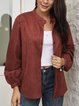Red Long Sleeve Crew Neck Paneled Casual Outerwear