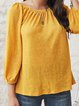 Yellow Long Sleeve Plain Cotton-Blend Paneled Shirts & Tops
