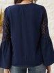 Blue Long Sleeve V-Neck Plain Paneled Shirts & Tops