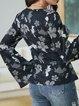 Black Cotton-Blend Paneled Crew Neck Holiday Shirts & Tops