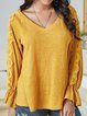 Yellow Long Sleeve Cotton-Blend Plain Paneled Shirts & Tops