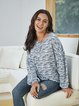 Blue Long Sleeve Casual Paneled Crew Neck Shirts & Tops