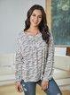 Gray Paneled Long Sleeve Cotton-Blend Shirts & Tops