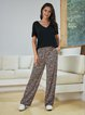 Pink Printed Shift Casual Cotton-Blend Pants