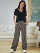 Deep Gray Cotton-Blend Boho Paneled Pants
