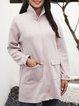 Pink Long Sleeve Cotton-Blend Paneled Crew Neck Outerwear