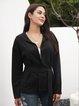 Black Paneled Casual Long Sleeve Hoodie Outerwear