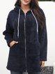 Deep Blue Paneled Long Sleeve Cotton-Blend Outerwear