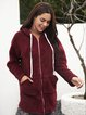 Wine Red Long Sleeve Cotton-Blend Outerwear