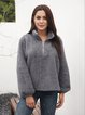 Gray Stand Collar Paneled Cotton-Blend Casual Shirts & Tops