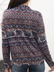 Red Paneled V Neck Cotton-Blend Long Sleeve Shirts & Tops