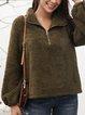 Green Cotton-Blend Plain Stand Collar Long Sleeve Shirts & Tops