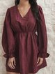 Red Long Sleeve Swing V Neck Cotton-Blend Dresses