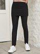 Black Plain Paneled Cotton-Blend Boho Pants
