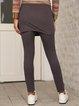 Gray Paneled Cotton-Blend Plain Casual Pants