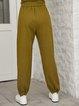 Green Paneled Plain Cotton-Blend Casual Pants