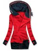 Red Cotton-Blend Hoodie Color-Block Casual Outerwear