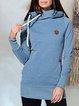 Blue Solid Hoodie Long Sleeve Sweatshirt