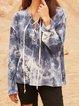 Blue Paneled Long Sleeve Cotton-Blend Shirts & Tops