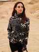 Gray Leopard Boho Turtleneck Cotton-Blend Shirts & Tops
