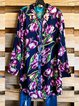 Multicolor Casual Floral Cotton-Blend Shirt Collar Shirts & Tops