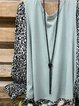 Blue Cotton-Blend Leopard Shift Long Sleeve Shirts & Tops