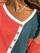 Vintage Color-block Plus Size Plain Long Sleeve V Neck Casual Tops