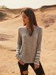 Gray Cotton-Blend Paneled Crew Neck Holiday Shirts & Tops
