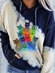 Plus Size Animal Cotton-Blend Hoodie Casual Shirts & Tops
