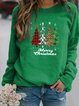 Plus Size Crew Neck Vintage Christmas Long Sleeve Cotton-Blend Shirts & Tops