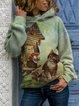 Plus Size Long Sleeve Vintage Hoodie Sweatshirt